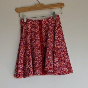UO Kimchi Blue Snap Front Skater Skirt Red Size XS